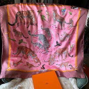 Hermès Pink Tendresse Feline Silk Scarf